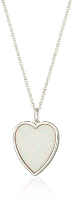 Scream Pretty Silver White Opal Heart Necklace With Slider Clasp
