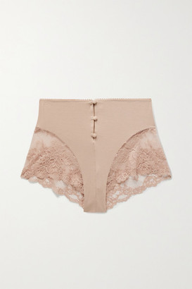 Lonely - Hollie Stretch-bamboo And Lace Briefs - Antique rose