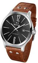 TW Steel Slim Line Unisex Automatic Watch with Black Dial Analogue Display and Brown Leather Strap TWA1310