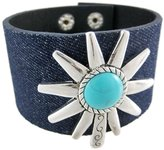 Things2Die4 Dark Blue Denim Silver Finish Turquoise Spur Wristband
