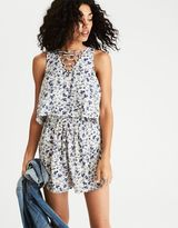 American Eagle Outfitters AE Tiered Lace-Up Romper