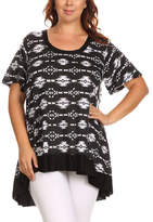 Canari Black & White Geometric Hi-Low Tunic - Plus