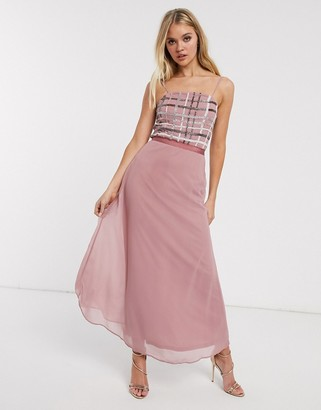 Frock and Frill metallic check detail slip midi dress