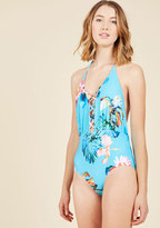 A Posh Plunge One-Piece Swimsuit in M