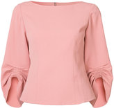 Tibi gathered detail blouse - women - Polyester/Cotton - 2