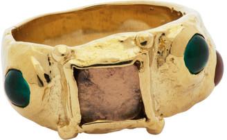 MONDO MONDO Gold and Purple Suede Ring