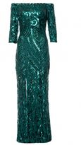Quiz Green Sequin Bardot Front Split Maxi Dress