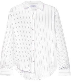 Clu Asymmetric Striped Cotton-poplin Shirt