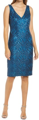 Vince Camuto Sequin Sleeveless Sheath Cocktail Dress