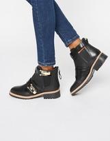 Aldo Buckle Detail Flat Chelsea Boots