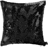 Aviva Stanoff Two Tone Mermaid Sequin Cushion - Matt/Shiny Black - 45x45cm
