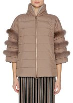 Agnona Short Puffer Jacket with Fox Fur Trim