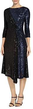 St. John Starlight Sequin Mesh Two Tone Dress