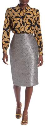 Diane von Furstenberg Kara Metallic Pencil Skirt