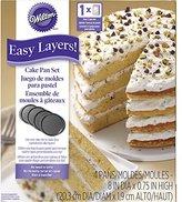 """Wilton 2105-0188 4 Piece Easy Layers Round Cake Pan Set, 8"""""""
