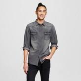 Mossimo Men's Long Sleeve Washed Denim Shirt Black Print