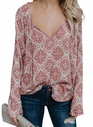 CORAFRITZ Womens Deep V Neck Blouse Printed Chiffon Pullover Top Loose Blouse Pink
