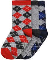 Joe Fresh Toddler Boys' 3 Pack Argyle Socks, Grey (Size 1-3)