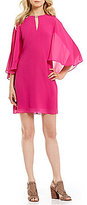 Vince Camuto Keyhole Flutter Sleeve Solid Chiffon Dress
