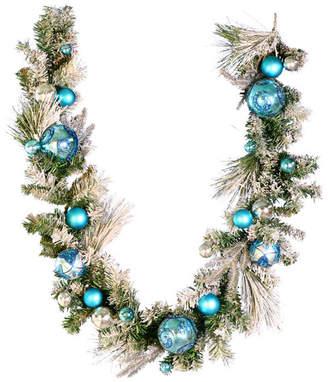 "Vickerman Flocked Pieces Decorated w/ Blue & Platinum Ornaments, 6' X 12"", Garla"