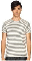 Todd Snyder Striped Weathered Button Pocket Crew Tee Men's T Shirt