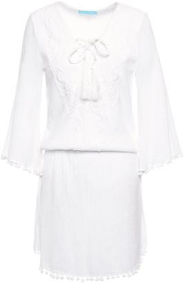 Melissa Odabash Kia Embroidered Crinkled Cotton-gauze Mini Dress