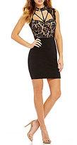 Jodi Kristopher Mock Neck Lace Bodice Sheath Dress