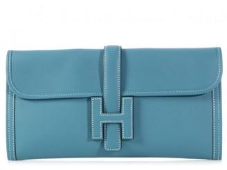 Hermes Jige Blue Leather Clutch bags