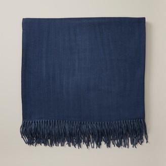 Oui Herringbone Super-Soft Throw Blanket Blue