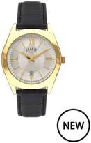 Limit Limit Gold Plated With Black Croco Effect Strap Mens Watch