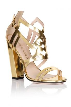 Little Mistress Linzi Footwear Gold Square Heel Strap Shoes