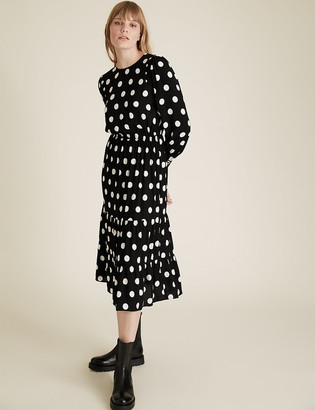 Marks and Spencer Polka Dot Round Neck Midi Waisted Dress