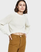 Shaker Knit Hi Lo Sweater in Creme