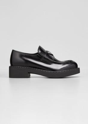 Prada Leather Logo Loafers