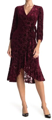 Calvin Klein Velvet Burnout Floral Midi Flutter Wrap Front Dress