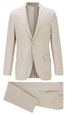 HUGO BOSS Vegan Slim Fit Suit In Italian Linen - Light Beige