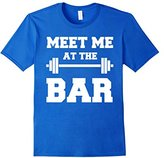 Men's MEET ME AT THE BAR Cool Pun Gym T-Shirt for Weight Lifters Large