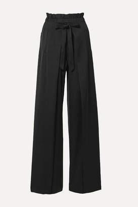 Cult Gaia Naomi Tie-front Satin Wide-leg Pants - Black