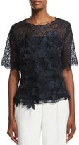 Escada Short-Sleeve 3D Embroidered Lace Blouse, Navy