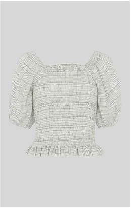 Whistles Louise Check Smocked Top