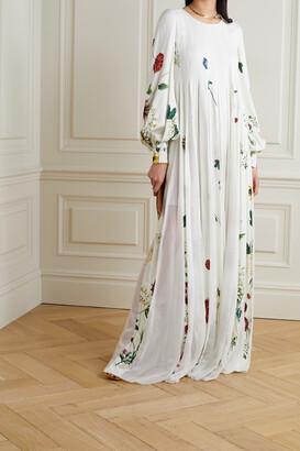 Oscar de la Renta - Pleated Floral-print Crepe And Chiffon Gown - White