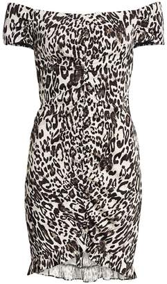 Milly Ella Leopard Off-the-Shoulder Bodycon Dress