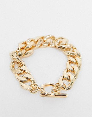Topshop chunky chain bracelet in gold with crystal detail