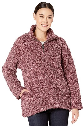 Dylan by True Grit Faux-Shearling Pile Drop Shoulder 1/4 Zip Pullover with Soft Knit Lining (Putty) Women's Clothing