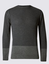 Marks And Spencer Textured Colour Block Merino Jumper