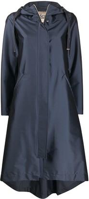 Herno Metallic Asymmetric Hem Parka Coat