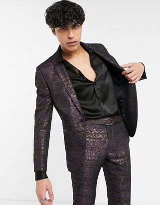 Topman skinny suit jacket with floral print-Multi