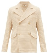 Séfr James Double-breasted Basketweave Blazer - Mens - Beige