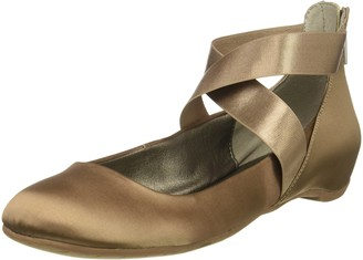 Kenneth Cole Reaction Women's Pro-time Ballet Flat with Elastic Ankle Strap Back Zip-Satin