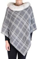 Black Grey and Ivory Cashmere Poncho with Fox Fur Collar